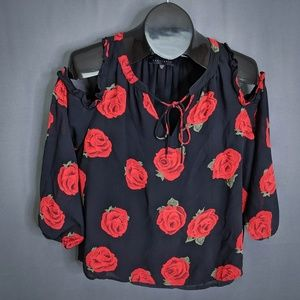 Sanctuary Top Shirt Size XS Black Red Womens